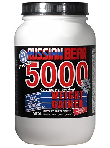 Vitol Russian Bear 5000 Weight gainer Supplement, Strawberry, 4 Pound