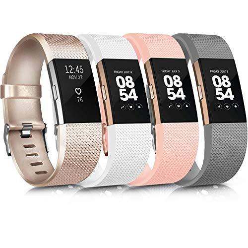 Wanme Kompatibel mit Fitbit Charge 2 Armband, Verstellbare Weiches Silikon Sport Ersatzarmband Kompatibel für Fitbit Charge 2 (03 Gold/Grey/Blush Pink/White, Small)