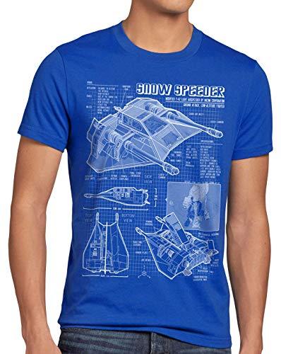style3 Snow Speeder T-47 Herren T-Shirt Blaupause hoth air, Größe:L, Farbe:Blau
