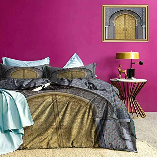 Youdeem-home Moroccan Bedding Duvet Cover Set, 3-Piece Antique Doors Morocco Gold Doorknob Ornamental Carved Intricate Artistic – Best Modern Style Yellow Teal Blue King Size