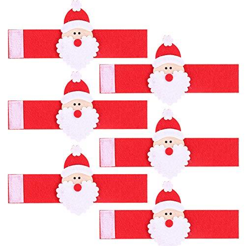 Weihnachts Serviettenringe, 6er Pack Weihnachtsmann Serviettenhalter Ringe Esstisch Einstellungen für Weihnachtsfeiertage Thanksgiving Hochzeitsbankett Geburtstag Täglich