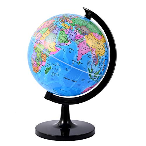 Fun Lites 20CM World Globe for Kids Learning, DIY Assemble Educational Rotating World Map Globes Large Size Decorative Earth Children Globe for Classroom Geography Teaching, Desk & Office Decoration