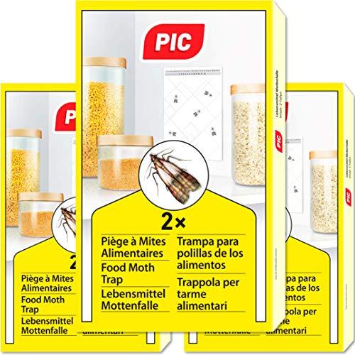 PIC Piéges à Mites Alimentaires Paquet Triple = 6pièges Anti Mites - Piège à phéromones pour la Cuisine et Les magasins - Anti mite Alimentaire