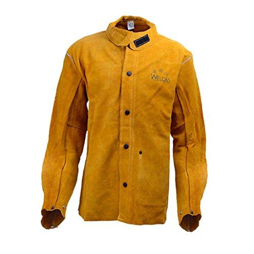 Almencla Soldador De Cuero De Vaca Resistente Al Calor Chaqueta DE Soldadura con Collar Protect - Amarillo, XL