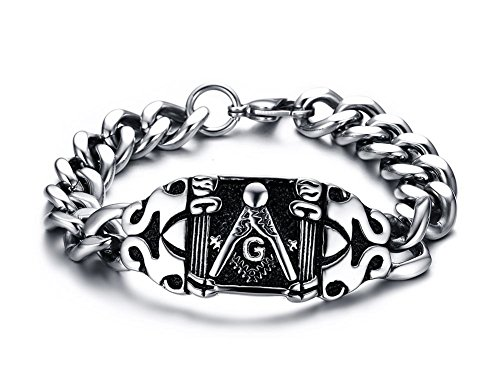 Chunky Stainless Steel Masonic Freemason Symbol Polished Chain Link Bracelets for Men, 8.2'
