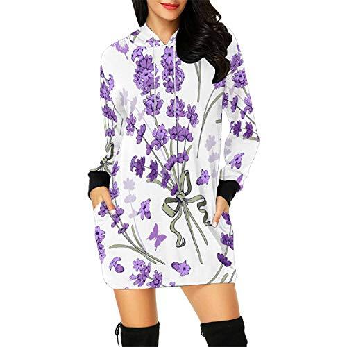 InterestPrint Purple Flower Lavender Women's Long Sleeve Hoodie Mini Dress Sweatshirt XX-Large