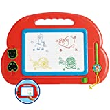 Liberty Imports Colorful Magnetic Drawing Board Classic Educational Toy - 14x10 Kids Erasable Magna Sketch Writing Doodle Pad with Pen and 2 Stampers