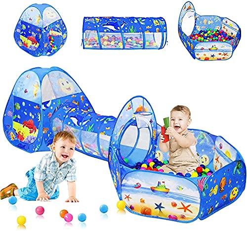 SHWYSHOP Tienda de campaña para niños, 3 fosos de Bolas para niños pequeños con Tienda de campaña para niños y túnel para niños y niñas, casita de Juegos para bebés (Plegable)