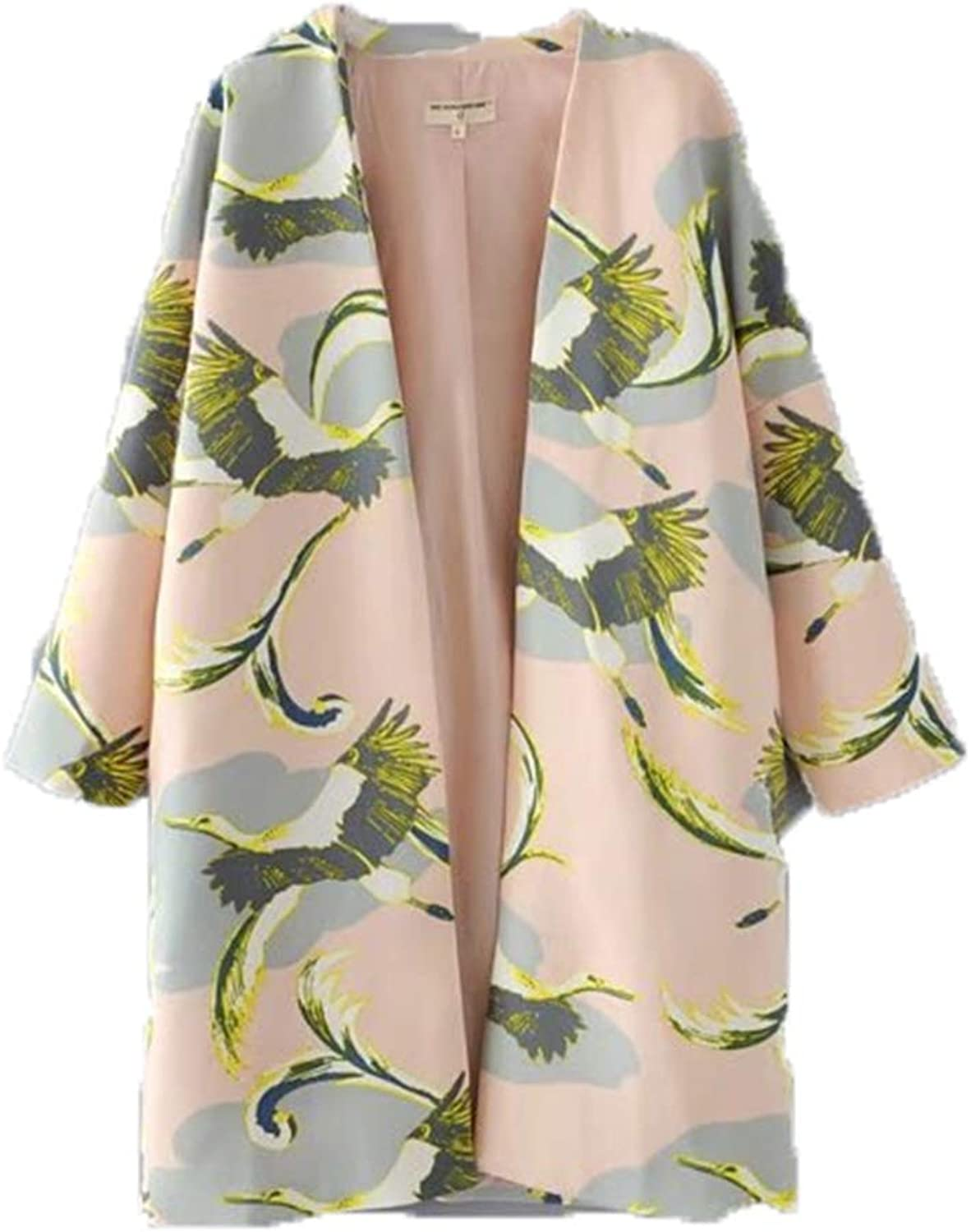 Spring Trench Coat Women Cranes Printed Long Coat Female Casual Pockets Winter Outwears Clothing