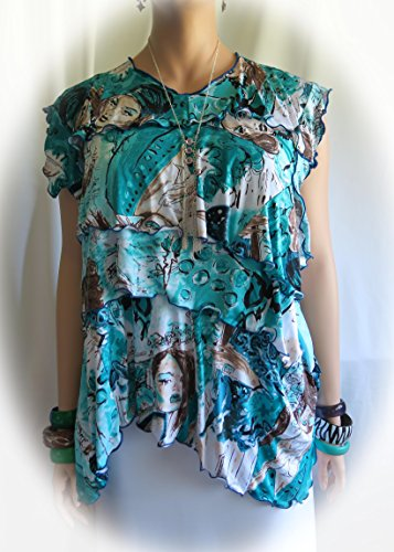 Hawaiian Kapakahi Women Polynesian Flair Blouse, Top, shirt, cover-up - 1 Size Fits XL to 1XL - Made in Hawaii - Wear Art! + Free Necklace