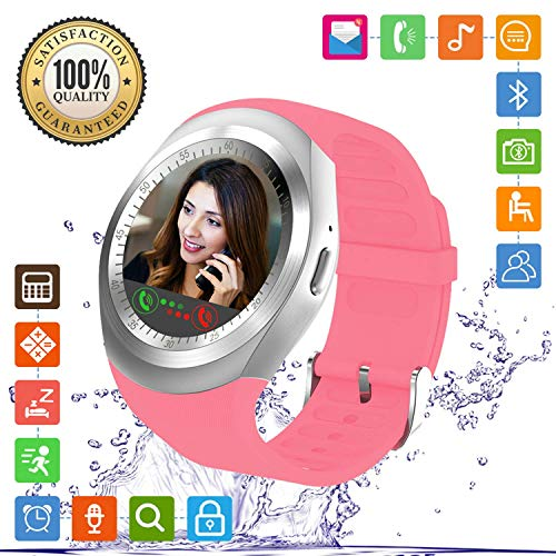 FENHOO Smartwatch Damen Herren Kinder Fitness Armband Sportuhr mit Touchscreen SIM Karte Slot Schrittzähler Anruf Nachricht Uhr Smart Watch Kompatible Samsung Huawei Xiaomi Sony Android ios (Rosa)