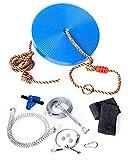 Seigla 100 ft Backyard Zipline Kit for Kids & Adults | Stainless Steel Spring Brake Zip Line with Zipline Handle & Seat | Ninja Line Tree Cable Kit Obstacle Course
