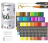 Rotuladores de pincel de doble punta, 60 rotuladores de punta de color, juego de rotuladores de arte, 120 puntas finas y punta de pincel para niños, adultos, libro para colorear