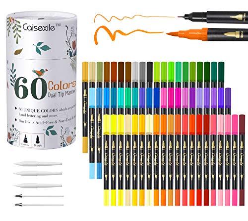 Juego de 60 rotuladores artísticos de colores de doble punta, 120 puntas finas y punta de pincel para niños Libro para colorear para adultos Tomar notas a mano Bullet Journal