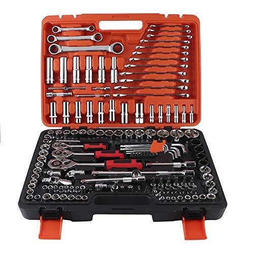 Akozon Vehículo de juego de llaves de vaso de trinquete Caja de herramientas de reparación de mantenimiento Herramienta de mano de llave combinada 150 piezas