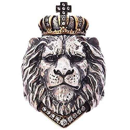 León Cabeza Vikingo Anillo para Hombres, Anillo De León Corona del Rey del Animal Punk, Cabeza De León De Hip Hop con Rhinestones Corona Anillo(Corona diamante rojo, un tamaño)