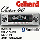 Gelhard Classic 40'Retro Look RDS Autoradio CD MP3 USB SD + Bluetooth Freisprecheinrichtung
