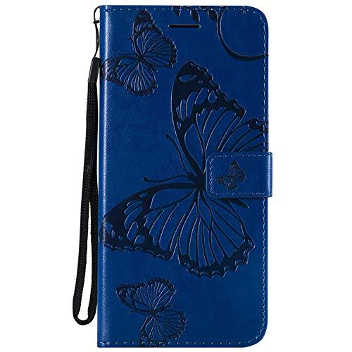 DENDICO Cover Galaxy J6 Plus, Pelle Portafoglio Custodia per Samsung Galaxy J6 Plus Custodia a Libro con Funzione di appoggio e Porta Carte di cRossoito, Modello di Farfalla - Blu
