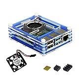for Raspberry Pi 4 Model B Acrylic Case with Cooling Fan, Heatsinks (Blue)