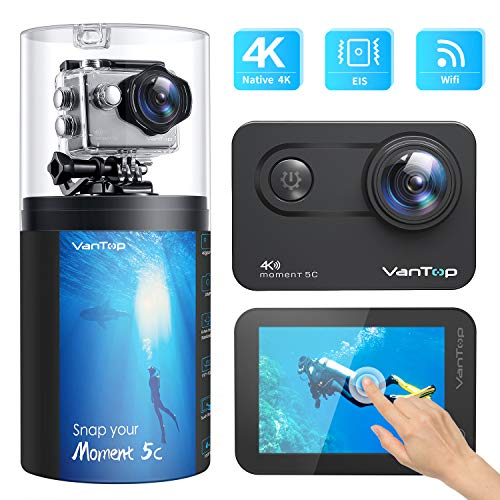 VanTop Moment 5C Native 4K 60fps WiFi Action Camera with Touch Screen, 20MP Super Photo, EIS, 30M Waterproof Underwater Sports Camera with 2Pcs Rechargeable Batteries and Gopro Compatible Accessories
