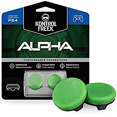 KontrolFreek Alpha for PlayStation 4 (PS4) and PlayStation 5 (PS5) | Performance Thumbsticks | 2 Low-Rise Concave | Green