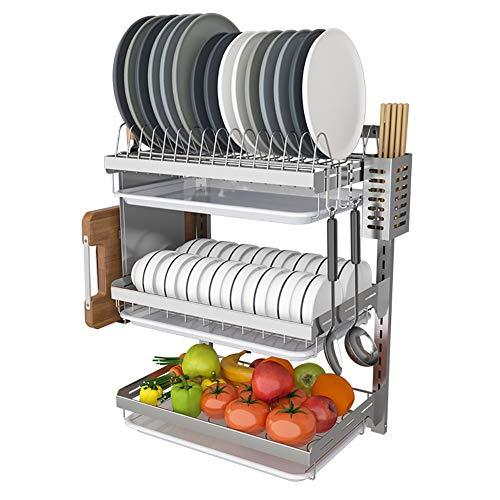 Dish Droogrek, 2-laags Cuttlery Houders Drainer Shelf, Keuken Muur Rekken vereisen geen geperforeerde metalen Display rekken (Size : L)