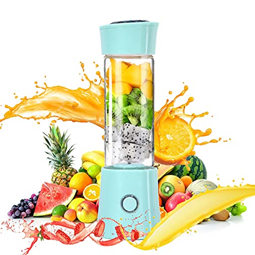 chusecure Portable Blender for Shakes and Smoothies Personal Blender Cup Mini Blender 16oz with Travel Lid 6 Blades Battery Operated USB Rechargeable for Sports Office Travel Gym Outdoors (Luxury Blue)