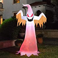 Vivohome 8ft Height Halloween Inflatable White Ghost with Red Rotating Led Lights