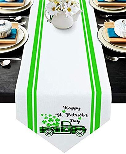 VJRQM Chemin de Table Basse St.Patrick's Day Buffalo Plaid Truck Shamrock Toile de Jute Chemin de Table Extra Long 72 Pouces pour dîner de Banquet de Vacances à la Ferme