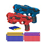 Kitoyz 2 Pack Blaster Toy Guns Darts Gun for Boys, Kids LED Gun Toys Set with 60 Pcs Soft Foam Bullet Dart for Kids Birthday Gifts Party Supplies for 4 5 6 7 Year Old Boys (Red & Blue)