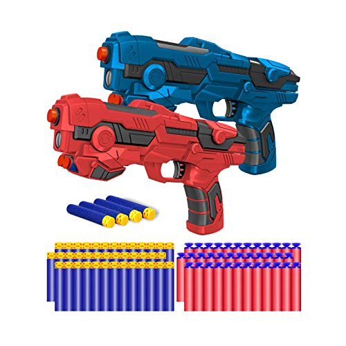 Kitoyz 2 Pack Blaster Toy Guns Darts Gun for Boys, Kids Gun Toys Set with 60 Pcs Soft Foam Bullet Dart for Kids Birthday Gifts Party Supplies for 4 5 6 7 Year Old Boys (Red & Blue)
