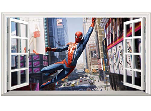 DT Poster Marvel Sky Spiderman Pattern 3D Magic Window Wall Sticker Self-adhesive 26ZYPA14186