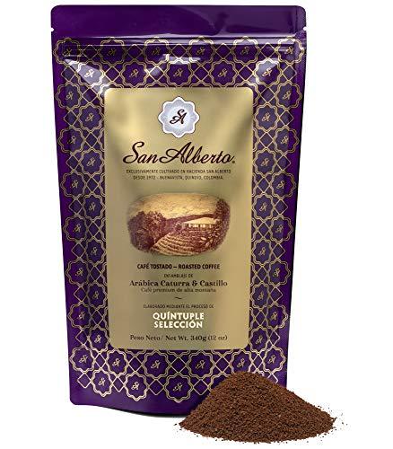 San Alberto Ground Coffee Single Origin Specialty Colombian Medium Roast 12 Oz