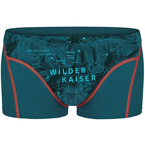 EIN SCHÖNER FLECK ERDE. Herren Boxershorts Wilder Kaiser, Bio-Baumwolle, Fair produziert, Alpines Design, Bedruckt, Blaugrau (XL)