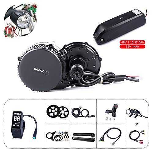 Bafang Bicicleta eléctrica BBS02B 48V 750W Kit de conversión de Bicicleta de montaña con Motor Central Bicicleta de EBike con batería de 48V 11.6/17.5Ah Hailong/Portaequipajes Batería /52V 14Ah