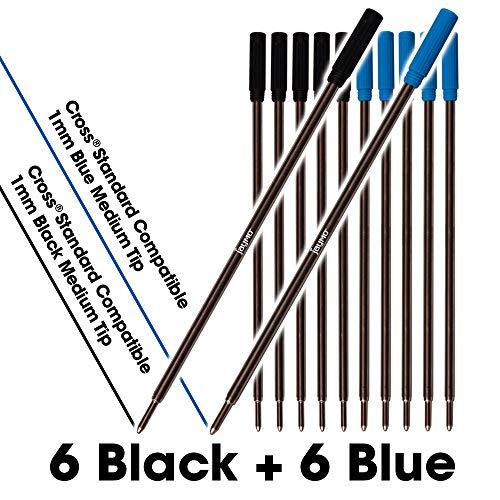 Jaymo - Cross compatibele balpen vullingen - vloeiend schrijven Duitse inkt en 1mm Medium Tip 6 Black + 6 Blue = 12