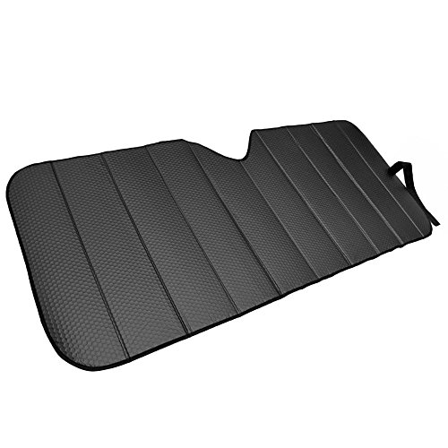 Motor Trend Front Windshield Sunshade - Black Accordion Folding Auto Shade for Car Truck SUV 58' x 24'