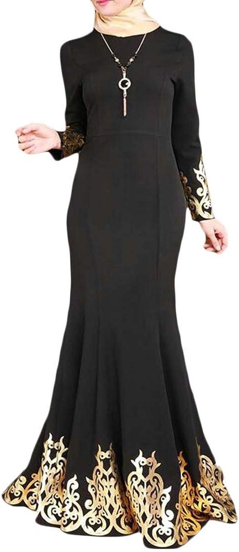 Fensajomon Women's Dubai Kaftan Gilding Muslim Retro Islamic Arab Robe Abaya Party Evening Maxi Dress