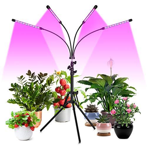 FREDI Pflanzenlampe LED 80W 4 Heads Pflanzenlicht Pflanzenleuchte Wachstumslampe mit Ständer Vollspektrum für Zimmerpflanzen mit Zeitschaltuhr, 3 Arten von Modus, 6 Arten von Helligkeit