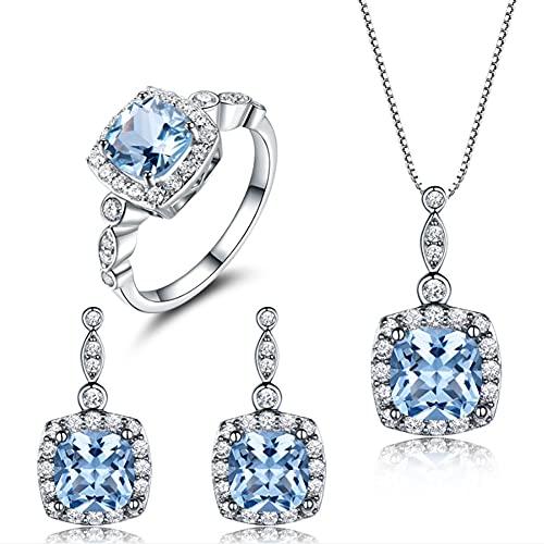 CHXISHOP Conjunto de joyería de las mujeres 925 plata de ley azul topacio moda conjunto collar pendientes anillo tres piezas conjunto azul-11 #