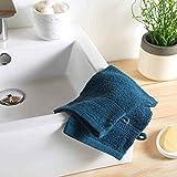 DOUCEUR D'INTERIEUR 2 gants de toilette 15 x 21 cm eponge unie colors bleu...