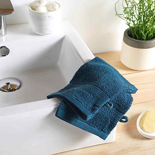 2 gants de toilette 15 x 21 cm eponge unie colors bleu nuit