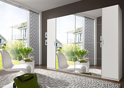 lifestyle4living 4-TRG. Dreh-/Schwebetürenschrank Alpin-Weiß, 2 Spiegeltüren, 4 Einlegeböden, und 4 Kleiderstangen, Maße: B/H/T ca. 270/210/65 cm