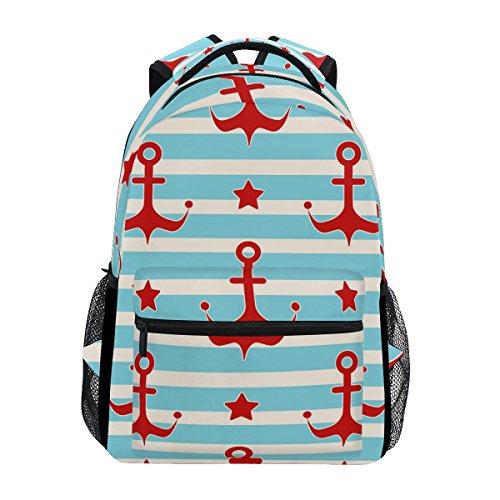 TIZORAX Rucksack mit nautischen Ankern, Sternen und Seemännern, für Schule, College, Büchertasche, Wandern, Reiserucksack für Damen und Herren