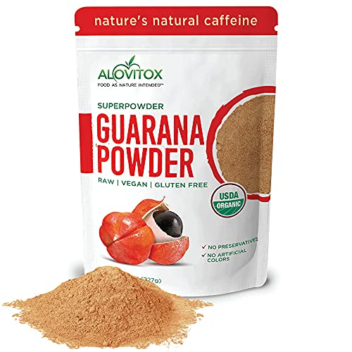 Organic Guarana Seed Powder by Alovitox | Raw, Vegan, Gluten Free Super Food Supplement | Naturally High in Energy Boosting Caffeine | Low Calorie Addition to Health Shakes, Smoothies & Drinks (8 oz)