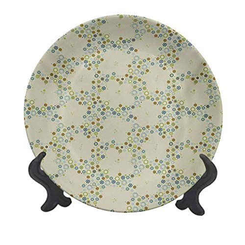 Lyzelre Flower 8 Inch Dinner Plate,Ornament of Medallion Shapes Bordered with Small Wildflowers Pattern Print Tableware Plate Decor Accessory for Party Kitchen,Khaki Blue Green