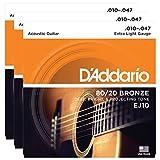 3 Packs of D'Addario EJ10 Bronze Acoustic Guitar Strings, Extra Light, 10-47