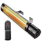 Pro Breeze - Calentador Infrarrojo para Exteriores de 2000 W. Calentador de Pared Eléctrico con Control Remoto y 3 Niveles, Repelente de Agua IP65