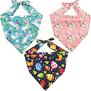 Lamphyface 3 Pack Easter Dog Bandana Triangle Bib Scarf Accessories