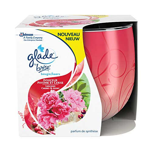 Glade By Brise Bougie Parfumée, Jusqu'à 30h de Combustion,Douceur Pivoine et Cerise , 120 g, Lot de 3